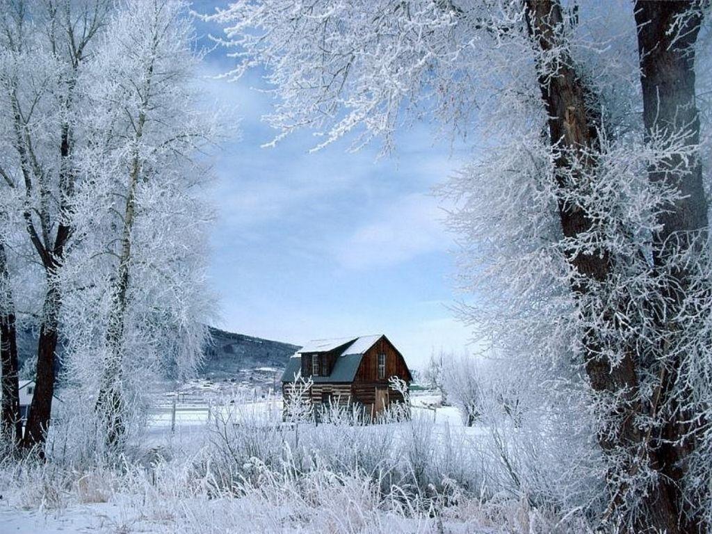 paysage d 39 hiver avec cabane centerblog. Black Bedroom Furniture Sets. Home Design Ideas